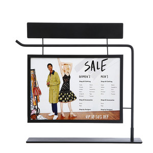 Promotion Black Iron Poster Display Rack for Shopping Mall