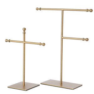 Commercial Jewelry Display Metal Brushed Gold Jewelry Necklace Display Rack