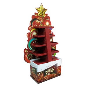 Festival Custom Paper Stand Floor Display Rack Christmas Tree Cardboard Display