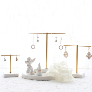 Multi-function display stand white marble copper jewelry display