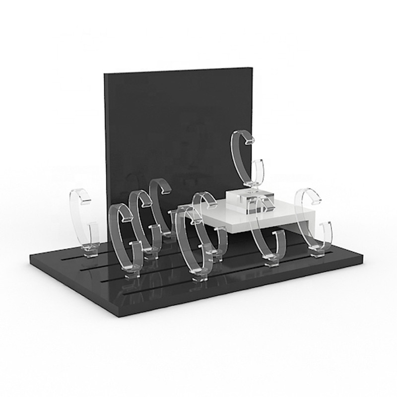 Elegant design black acrylic countertop watch display stand