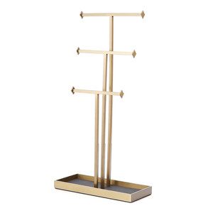 New Design Gold 3 Tiers Metal Necklace Bracelet Stand