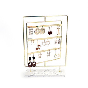 Square Rotating Metal Earring Display Stand with marble base Metal Jewelry Display Stand for earring