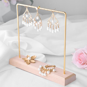 Jewelry display stand rack solid wood wrought iron earrings studs jewelry holder