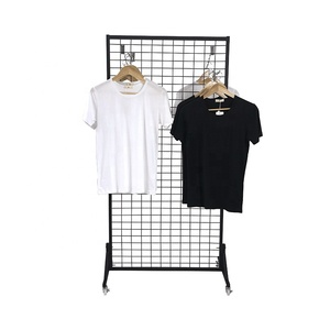 Metal customized retail display hang womans clothing t-shirt store metal grid display stand