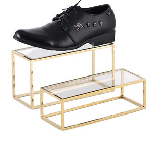 Metal Stainless Steel Gold Cube Display Stand Acrylic Leather Shoes Riser High heel Display Case