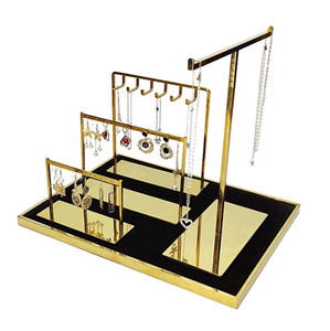 Gold Metal Jewelry Display Set Necklace Stand Earring Stand MJ068