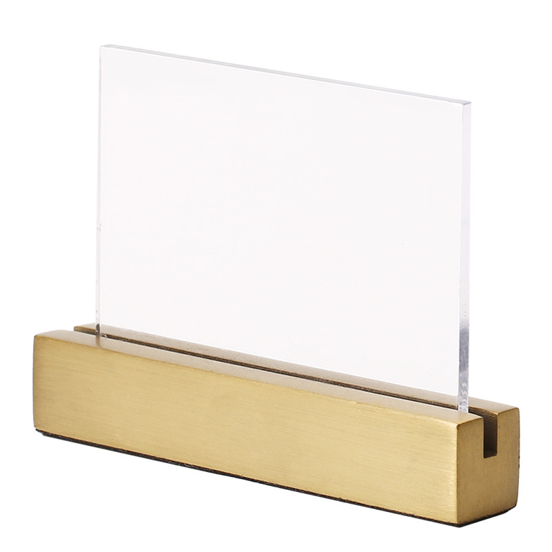 Luxury Small Desktop Label Stand Sign Holder Gold Brushed Stainless Steel Sign Display