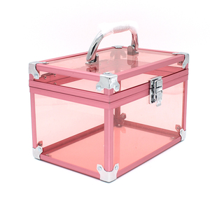 Pinky Acrylic Display Makeup Cosmetic Storage Box withy Lid Handle