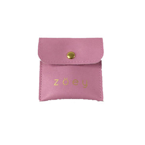 Custom printed suede envelope jewelry pouch and packaging gift bag with button