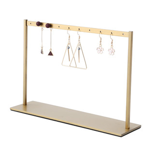 Exquisite Gold Jewellery Store Stainless Steel Earring Display Organizer Long Metal Earring Hanging