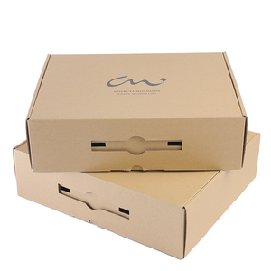 eco-friendly corrugated carton box with plastic handle E flute paper box