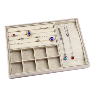 Linen Jewelry Display Tray With Multi-Function